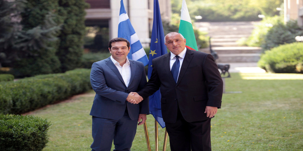 Bulgarian Prime Minister Boiko Borisov (R) welcomes his Greek counterpart Alexis Tsipras during a joint cabinet meeting in Sofia, Bulgaria, August 1, 2016. REUTERS/Dimitar Kyosemarliev           FOR EDITORIAL USE ONLY. NO RESALES. NO ARCHIVES.