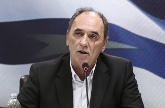 George Stathakis, Greece's incoming minister for economy, shipping, tourism and infrastructure, speaks during a handover ceremony in Athens, Greece, on Wednesday, Jan. 28, 2015. Varoufakis, is gearing up for negotiations with the euro area that have been on hold since December as Greece entered an election campaign. Photographer: Yorgos Karahalis/Bloomberg via Getty Images *** George Stathakis