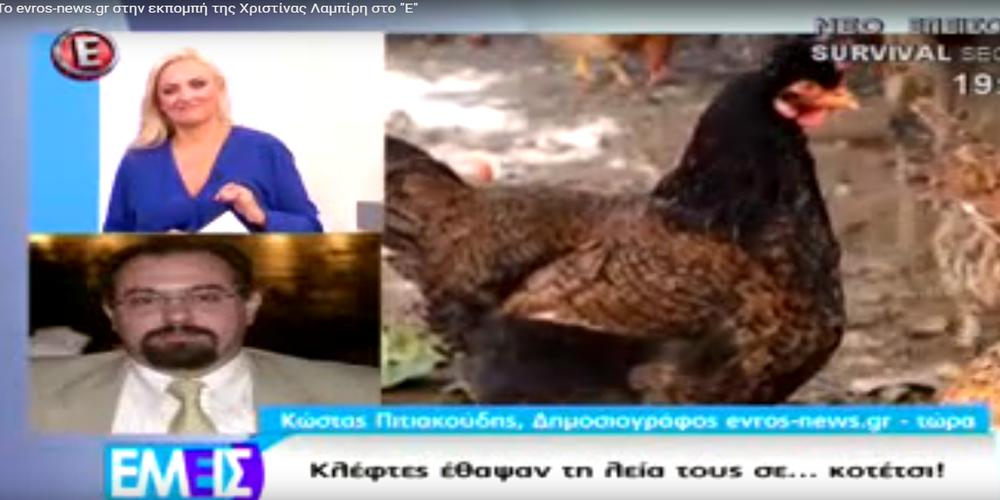 """Το κοτέτσι με τα κλεμμένα χρυσαφικά μέσω του evros-news.gr στην εκπομπή της Χ. Λαμπίρη στο """"Ε"""""""