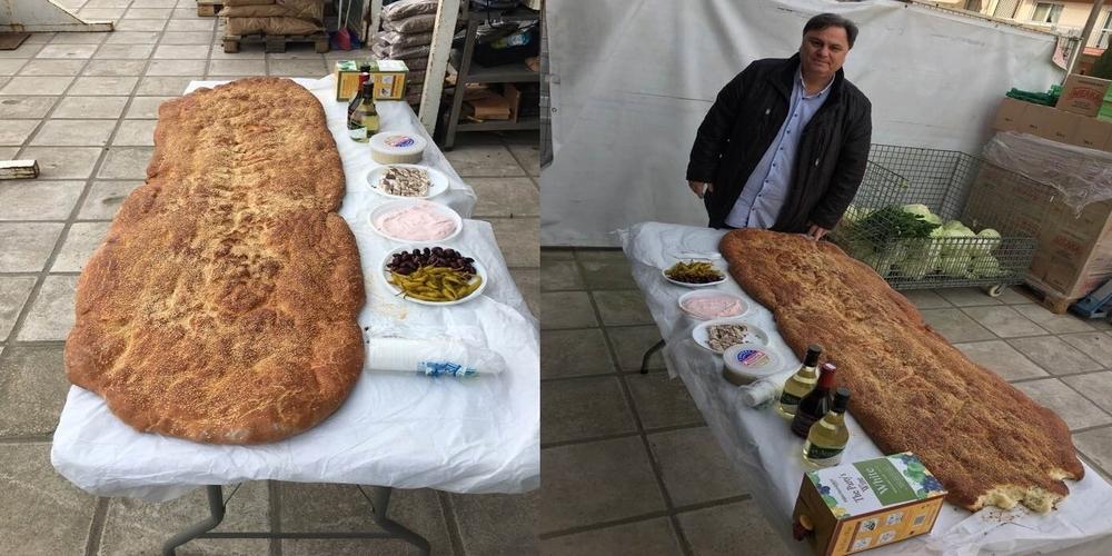 Αλεξανδρούπολη: Λαγάνα 2 μέτρων και φέτος, μαζί με κρασί, σαρακοστιανά, κέρασμα στους πελάτες του