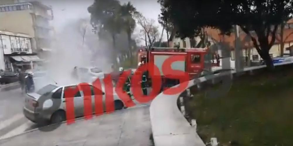 Στις φλόγες τυλίχθηκε αυτοκίνητο στην Αλεξανδρούπολη (video)