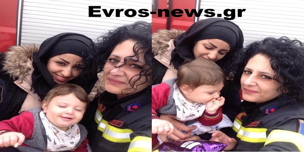 Η συγκίνηση και τα δάκρυα της Πυροσβεστίνας που έσωσε τη μικρή Μαχμούτ απ' τη Συρία