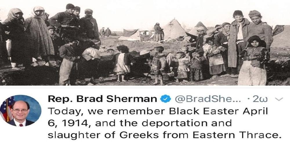 """Αμερικανός πολιτικός, ανέδειξε το """"μαύρο Πάσχα"""" των Θρακών, της γενοκτονίας των Ελλήνων της Ανατολικής Θράκης"""