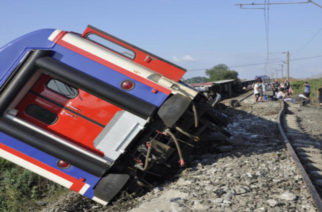 A derailed train is seen near Corlu in Tekirdag province, Turkey, July 8, 2018. Dogan News Agency via REUTERS ATTENTION EDITORS - THIS PICTURE WAS PROVIDED BY A THIRD PARTY. NO RESALES. NO ARCHIVES. TURKEY OUT. NO COMMERCIAL OR EDITORIAL SALES IN TURKEY.