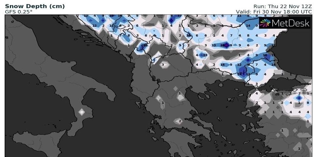 Πρόβλεψη για χιόνια ακόμα και στα πεδινά του Έβρου 29 και 30 Νοεμβρίου