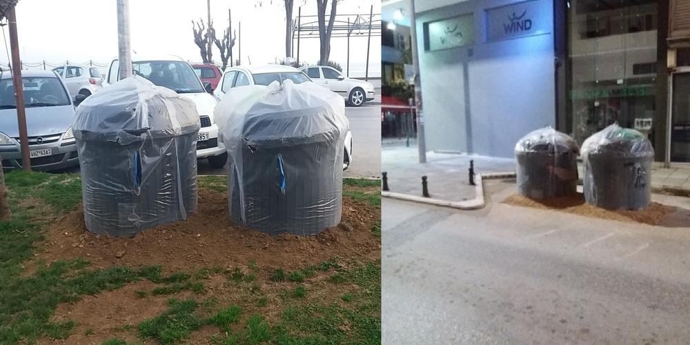 """Δήμος Αλεξανδρούπολης: Μετά το γκαζόν τώρα """"φυτεύουν""""… αρπακολατζίδικα τους υμιυπόγειους κάδους και σε θέσεις πάρκινγκ"""