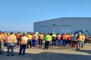 Στάση εργασίας στο εργοτάξιο κατασκευής του σταθμού συμπίεσης του TAP στον Πέπλο