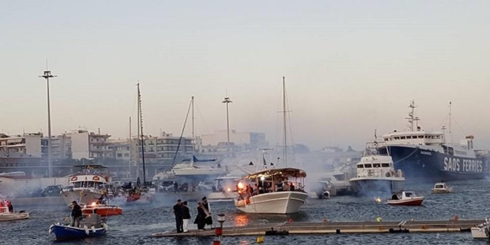 Αλεξανδρούπολη: Αναπαράσταση της άφιξης της εικόνας της Παναγίας Τρυφώτισσας από την Αίνο στο λιμάνι της Αλεξανδρούπολης