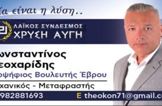 """Υποψήφιος βουλευτής με τη """"Χρυσή Αυγή"""" ο Κώστας Θεοχαρίδης απ' το Ορμένιο"""
