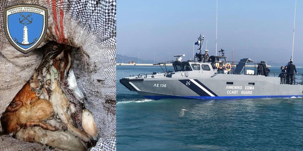 Αλεξανδρούπολη: Στα πλοκάμια του Λιμενικού αλιευτικό, που ψάρεψε παράνομα 135 κιλά… χταπόδια