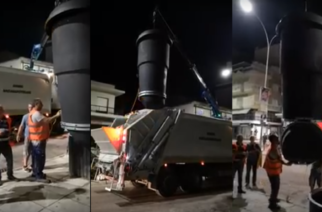 ΒΙΝΤΕΟ: Το περιπετειώδες πρώτο άδειασμα των ημιϋπόγειων κάδων στην Αλεξανδρούπολη και τα προβλήματα