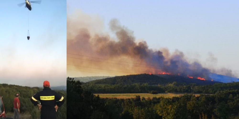 """ΒΙΝΤΕΟ: Στην """"μάχη"""" και το Πυροσβεστικό ελικόπτερο στην μεγάλη φωτιά της Καβησού"""