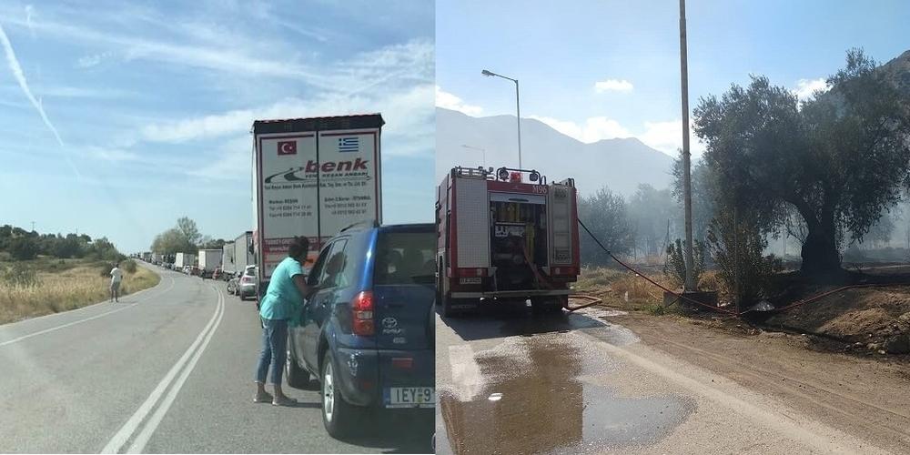 Πυρκαγιά ανάμεσα σε Λουτρά-Μοναστηράκι – Κυκλοφοριακό κομφούζιο και μποτιλιάρισμα στην εθνική οδό