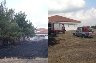 Πυρκαγιά απείλησε το Γυμνάσιο και Λύκειο Τυχερού, περνώντας μέσα από την αυλή τους