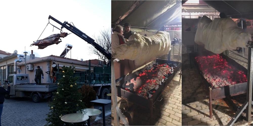 Φέρες: Ξεκίνησε να ψήνεται η μεγαλύτερη σούβλα, με μοσχάρι 300 κιλών – Αύριο το γλέντι (ΒΙΝΤΕΟ)