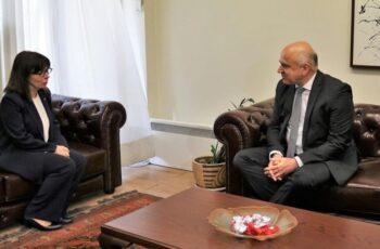 Υποδοχή και συνάντηση του Περιφερειάρχη ΑΜ-Θ Χρήστου Μέτιου με την Πρόεδρο της Δημοκρατίας Κατερίνα Σακελλαροπούλου