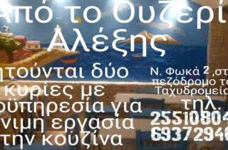 Αλεξανδρούπολη: Ζητούνται δυο κυρίες με προϋπηρεσία, για μόνιμη εργασία στο ουζερί Αλέξης