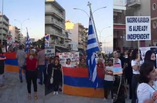 """Αλεξανδρούπολη: Οι Αρμένιοι διαδήλωσαν με σύνθημα: """"Αζέροι και Τούρκοι δολοφόνοι έξω απ' την Αρμενία""""(ΒΙΝΤΕΟ)"""