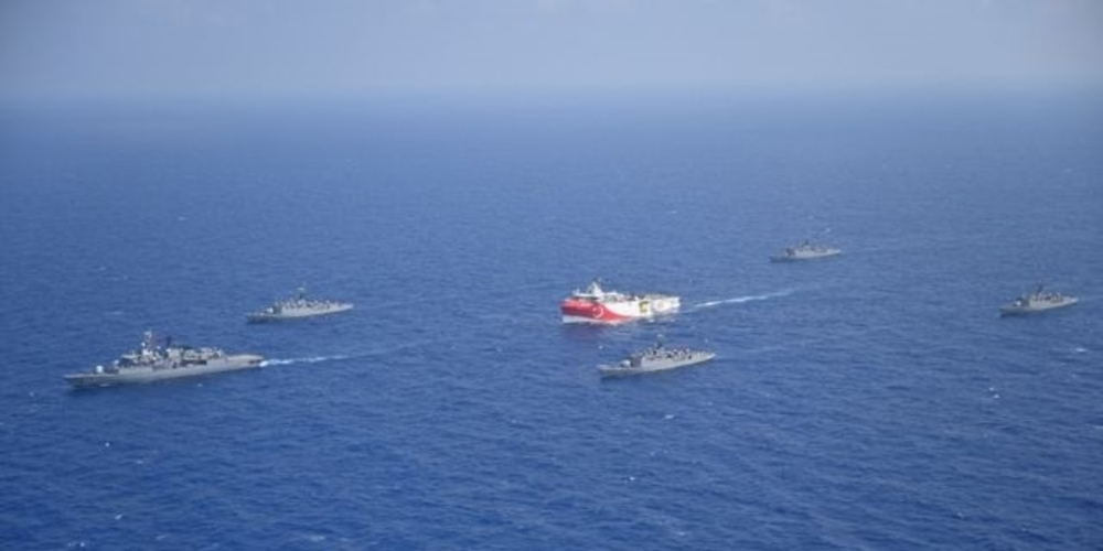 Turkish seismic research vessel Oruc Reis is escorted by Turkish Navy ships as it sets sail in the Mediterranean Sea, off Antalya, Turkey, August 10, 2020. Picture taken August 10, 2020. Turkish Defence Ministry/Handout via REUTERS ATTENTION EDITORS - THIS PICTURE WAS PROVIDED BY A THIRD PARTY. NO RESALES. NO ARCHIVE.
