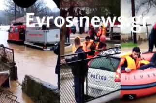 Σουφλί: Επιχείρηση διάσωσης λαθρομεταναστών, που είχαν εγκλωβιστεί στο πλημμυρισμένο Μικρό Δέρειο (πολλά ΒΙΝΤΕΟ)