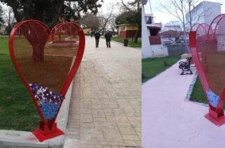 Αλεξανδρούπολη: Μεγάλες καρδιές σε σημεία της πόλης, για να δείξει ο κόσμος αγάπη στην ανακύκλωση