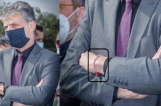 """Με βραχιόλι """"Μάρτη"""", για να μην… μαυρίσει (και άλλο;) ο Βασίλης Μαυρίδης, στην συγκέντρωση διαμαρτυρίας"""