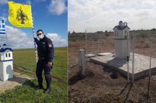 Έβαλαν και νέες σημαίες στο εκκλησάκι Τυχερού οι Συνοριοφύλακες, χθες ανήμερα του Ευαγγελισμού