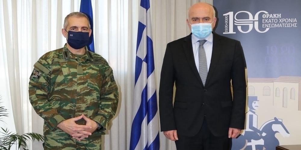 Επίσκεψη νέου Διοικητή Δ΄ Σώματος Στρατού Αντιστράτηγου Α.Χουδελούδη στον Περιφερειάρχη ΑΜΘ Χρήστο Μέτιο