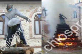Χίος: Έκαψαν ομοίωμα του Νότη Μηταράκη ως Ιούδα λόγω λαθρομεταναστευτικού, οι συντοπίτες του(ΒΙΝΤΕΟ)