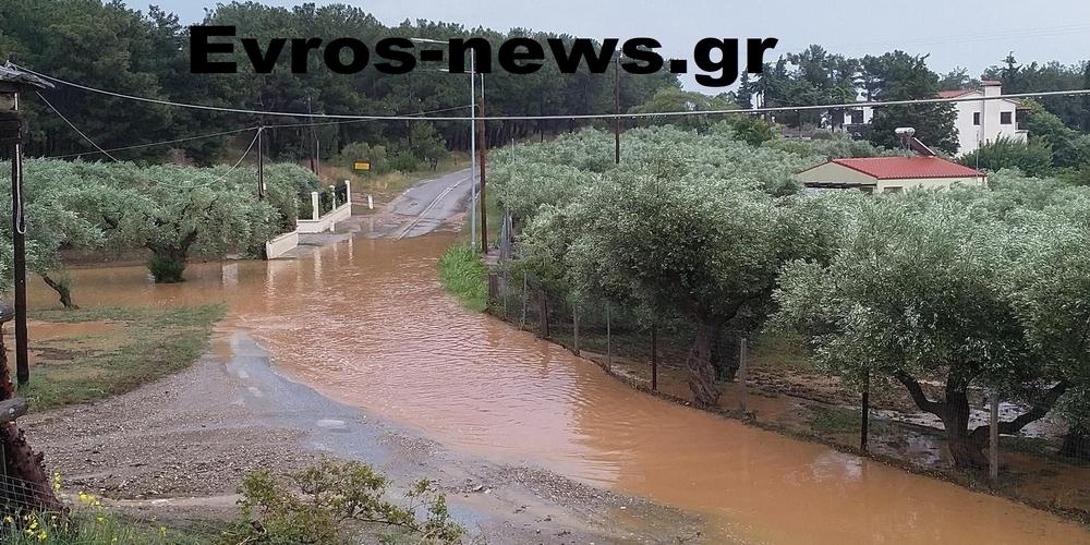 Αλεξανδρούπολη: Πλημμύρισαν δρόμοι στα Δίκελλα και έγιναν επικίνδυνοι απ' την καλοκαιρινή μπόρα