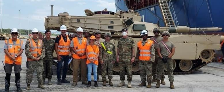 First batch of American Abrams tanks unloaded at the port of Alexandroupolis 5