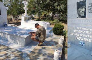Σουφλί: Στον τάφο του Έλληνα «γίγαντα» Στέφανου Μιλτσακάκη, στον Προβατώνα, ο Χολιγουντιανός ηθοποιός Manu Benett (ΒΙΝΤΕΟ+φωτό)