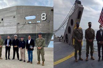 """Επίσκεψη-ξενάγηση στο Αμερικανικό μεταγωγικό """"USNS Yuma"""", Προέδρου του ΟΛΑ και δημάρχου Αλεξανδρούπολης"""